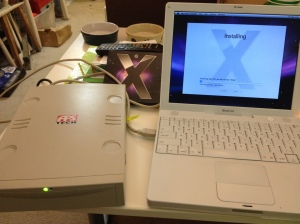 Using the external drive to install the system