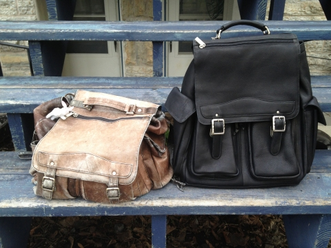 Photo of old and new backpacks.