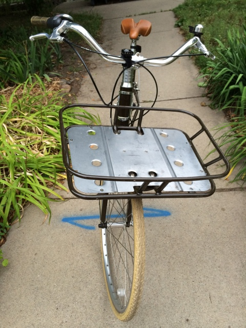 photo of loaner bike's basket