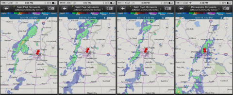 photo of weather radar progression