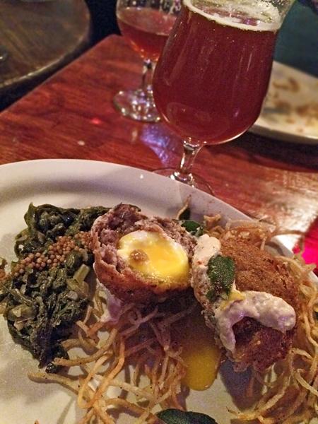 Beer & Beast at the Acadia: smoke Scotch egg and Oskar Blues Reeb Rye'd ale