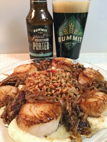 photo of scallops dinner and beer